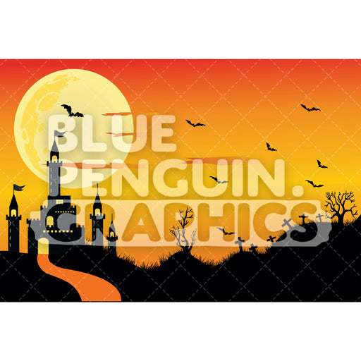 Halloween Graphic Background Clipart - Blue Penguin Graphics