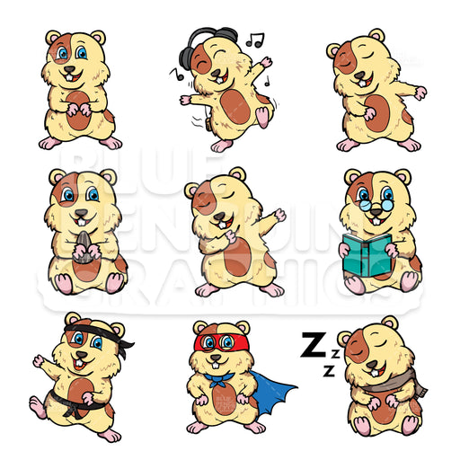 Hamster Bundle Set Vector Cartoon Clipart - Blue Penguin Graphics