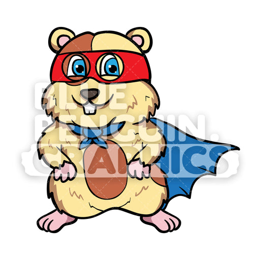Hamster Superhero Vector Cartoon Clipart - Blue Penguin Graphics
