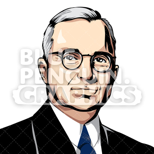 Harry S. Truman USA Vector Clipart Illustration - Blue Penguin Graphics