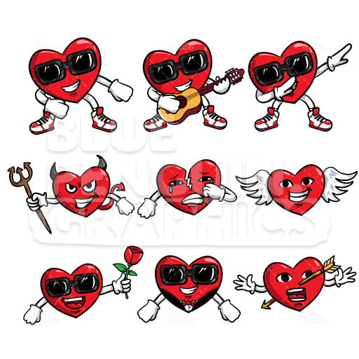 Heart Bundle Set Vector Cartoon Clipart Illustration - Blue Penguin Graphics