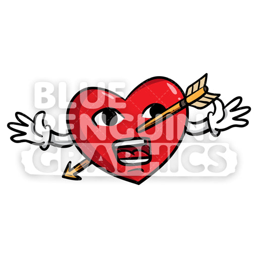 Heart Shot with an Arrow Vector Cartoon Clipart Illustration - Blue Penguin Graphics