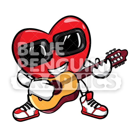 Heart Singing with a Guitar Vector Cartoon Clipart Illustration - Blue Penguin Graphics