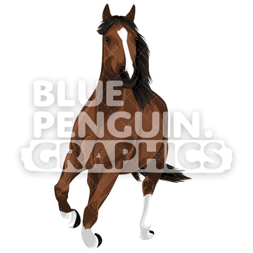 Realistic Horse Version 4 Vector Clipart Illustration - Blue Penguin Graphics