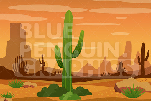 Hot Desert Graphic Background Clipart - Blue Penguin Graphics