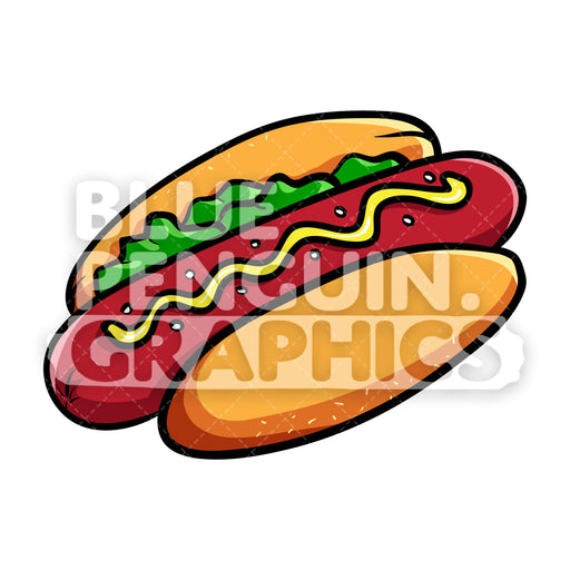 Hot Dog Food Vector Cartoon Clipart - Blue Penguin Graphics