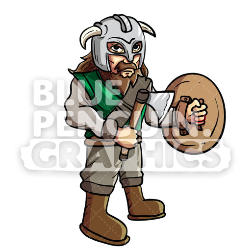 Hugi Cool Viking Vector Cartoon Clipart Illustration - Blue Penguin Graphics