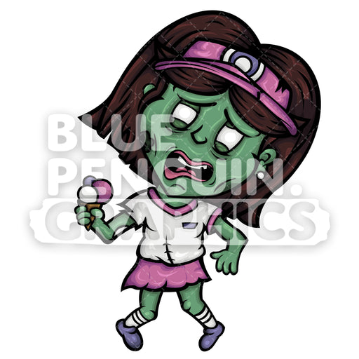 Ice Cream Seller Zombie Vector Cartoon Clipart - Blue Penguin Graphics