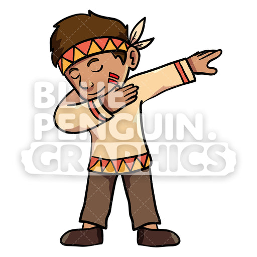 Indian Thanksgiving Boy Dabbing Dance Vector Cartoon Clipart Illustration - Blue Penguin Graphics