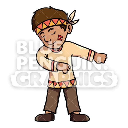 Indian Thanksgiving Boy Floss Dance Vector Cartoon Clipart Illustration - Blue Penguin Graphics