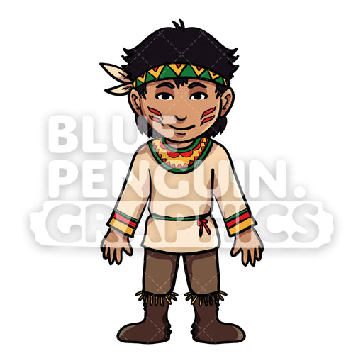 Indian Thanksgiving Boy version 3 Vector Cartoon Clipart Illustration - Blue Penguin Graphics
