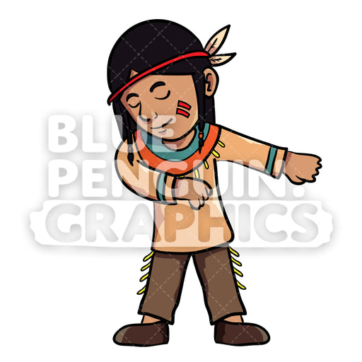 Indian Thanksgiving Boy version 4 Floss Dance Vector Cartoon Clipart Illustration - Blue Penguin Graphics