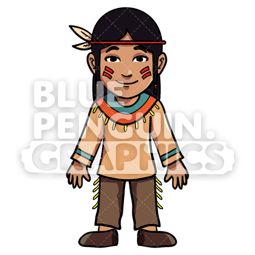 Indian Thanksgiving Boy version 4 Vector Cartoon Clipart Illustration - Blue Penguin Graphics