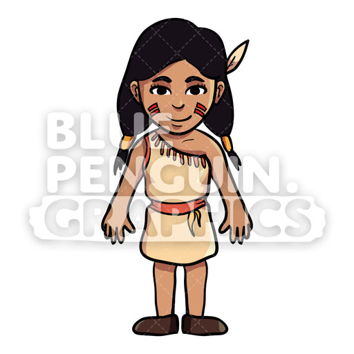 Indian Thanksgiving Girl version 2 Vector Cartoon Clipart Illustration - Blue Penguin Graphics