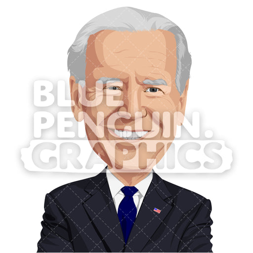 Former Vice President of the United States Joe Biden Vector Clipart Illustration - Blue Penguin Graphics