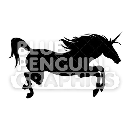 Jumping Unicorn From Right Side Silhouettes Vector Cartoon Clipart Illustration - Blue Penguin Graphics