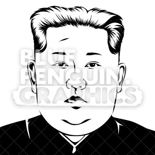 Korean Leader Kim Jong-un Silhouette - Blue Penguin Graphics