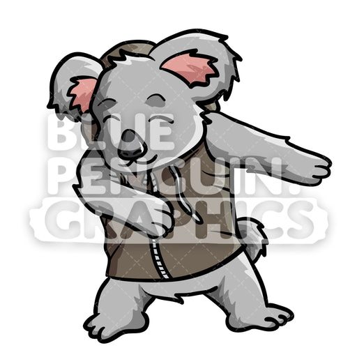 Koala Floss Dance Vector Cartoon Clipart Illustration - Blue Penguin Graphics