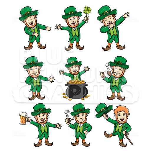 Leprechaun Bundle Set Vector Cartoon Clipart Illustration - Blue Penguin Graphics