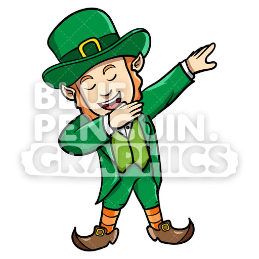Leprechaun Dabbing Vector Cartoon Clipart Illustration - Blue Penguin Graphics