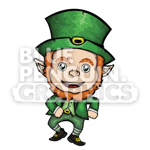 Leprechaun Dancing Vector Cartoon Clipart Illustration - Blue Penguin Graphics