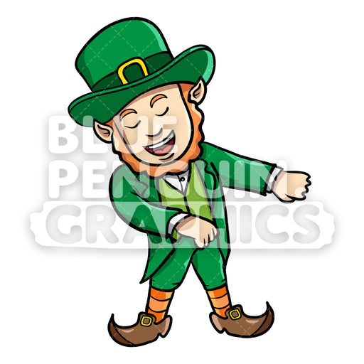 Leprechaun Flossing Vector Cartoon Clipart Illustration - Blue Penguin Graphics
