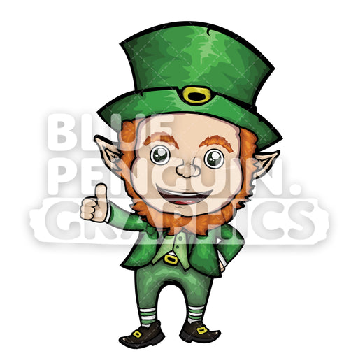 Leprechaun Giving a Thumbs Up Vector Cartoon Clipart Illustration - Blue Penguin Graphics