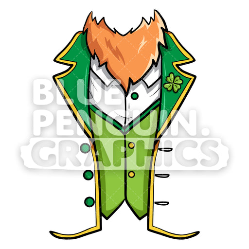 Leprechaun Shirt Vector Cartoon Clipart Illustration - Blue Penguin Graphics