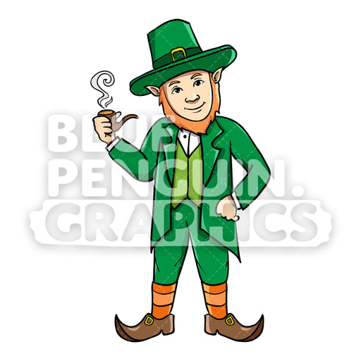 Leprechaun Smoking a Pipe Vector Cartoon Clipart Illustration - Blue Penguin Graphics