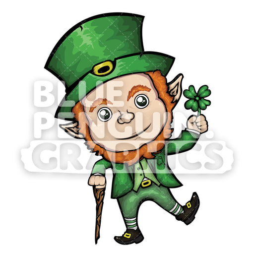Leprechaun with a Clover Leaf Vector Cartoon Clipart Illustration - Blue Penguin Graphics