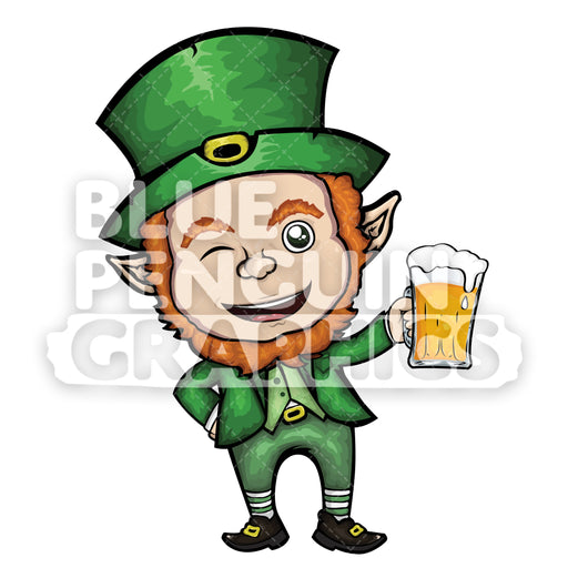 Leprechaun with a Glass of Beer version 2 Vector Cartoon Clipart Illustration - Blue Penguin Graphics