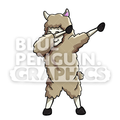 Llama Dabbing Vector Cartoon Clipart Illustration - Blue Penguin Graphics