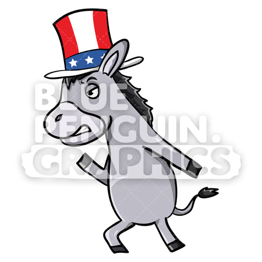 Mad Democratic Party Donkey Vector Cartoon Clipart Illustration - Blue Penguin Graphics