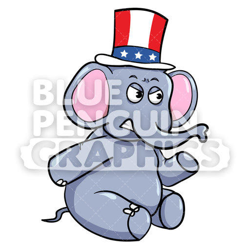 Mad Republican Elephant Vector Cartoon Clipart Illustration - Blue Penguin Graphics