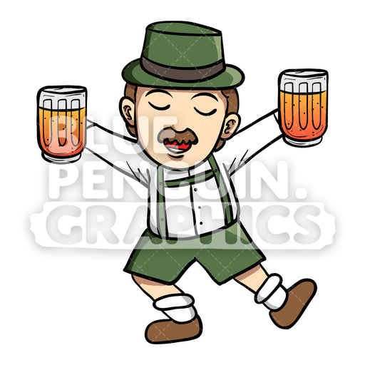 Man celebrate Oktoberfest with Beer Vector Cartoon Clipart Illustration - Blue Penguin Graphics