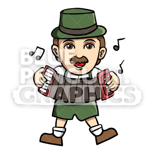 Man celebrate Oktoberfest with Playing Music Vector Cartoon Clipart Illustration - Blue Penguin Graphics