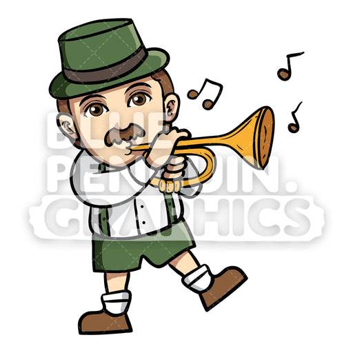 Man celebrate Oktoberfest with Playing Trumpet Vector Cartoon Clipart Illustration - Blue Penguin Graphics