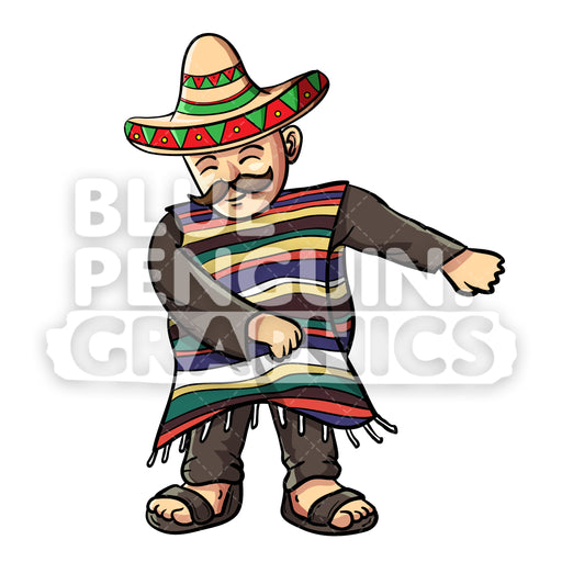 Mexican With Poncho and Sobrero Floss Vector Cartoon Clipart Illustration - Blue Penguin Graphics
