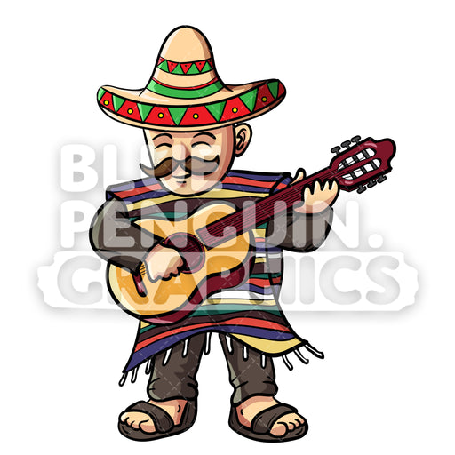 Mexican With Poncho and Sombrero With Guitar Vector Cartoon Clipart Illustration - Blue Penguin Graphics