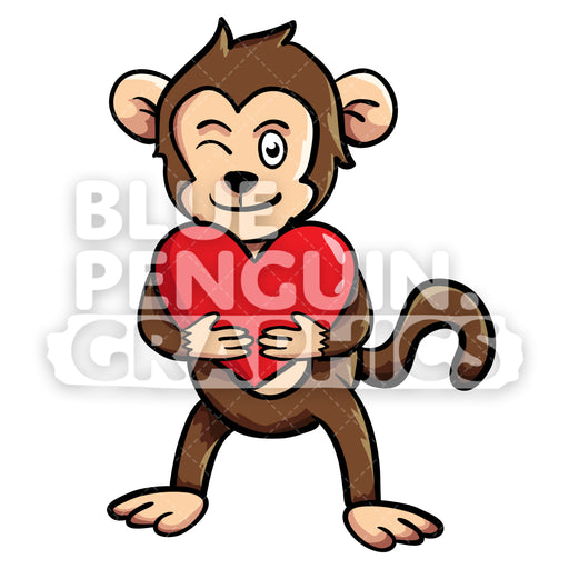 Monkey Bringing a Red Heart Vector Cartoon Clipart - Blue Penguin Graphics