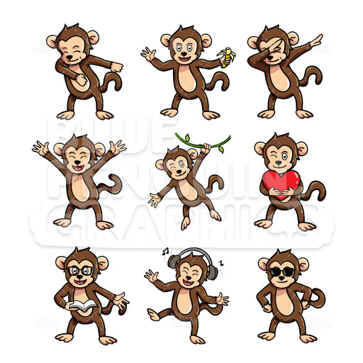 Monkey Bundle Set Vector Cartoon Clipart Illustration - Blue Penguin Graphics