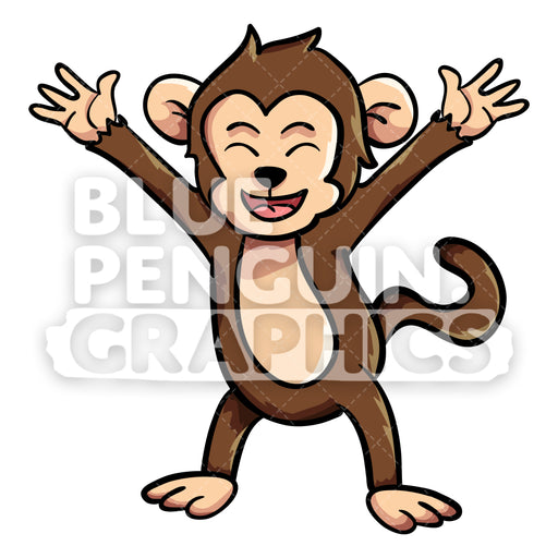 Monkey Excited Vector Cartoon Clipart Illustration - Blue Penguin Graphics
