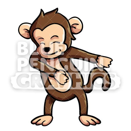Monkey Floss Vector Cartoon Clipart Illustration - Blue Penguin Graphics