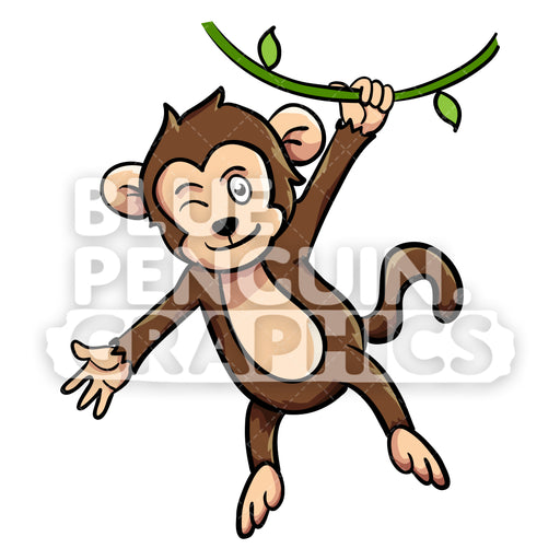 Monkey Hanging on Tree Vector Cartoon Clipart Illustration - Blue Penguin Graphics