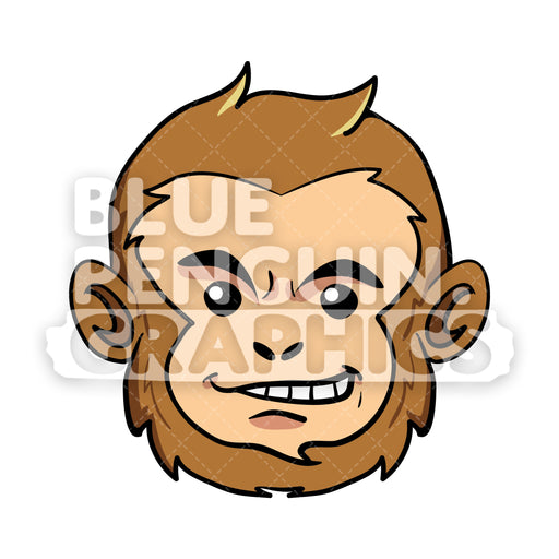 Monkey Head Vector Cartoon Clipart Illustration - Blue Penguin Graphics