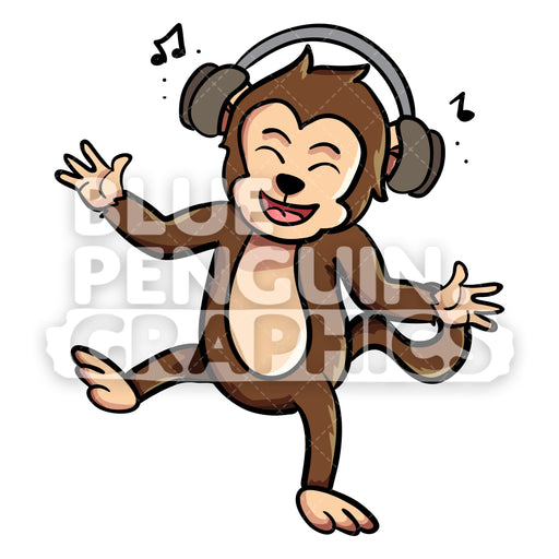 Monkey Listening to Music Vector Cartoon Clipart Illustration - Blue Penguin Graphics