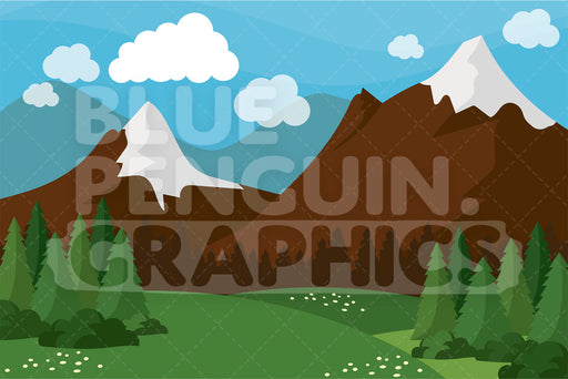 Nature Mountains Graphic Background Clipart - Blue Penguin Graphics