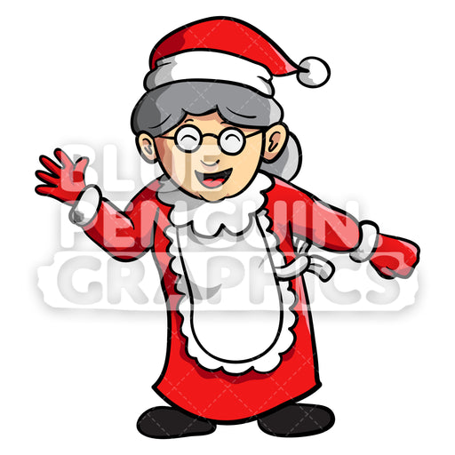 Mrs Santa Standing Vector Cartoon Clipart Illustration - Blue Penguin Graphics