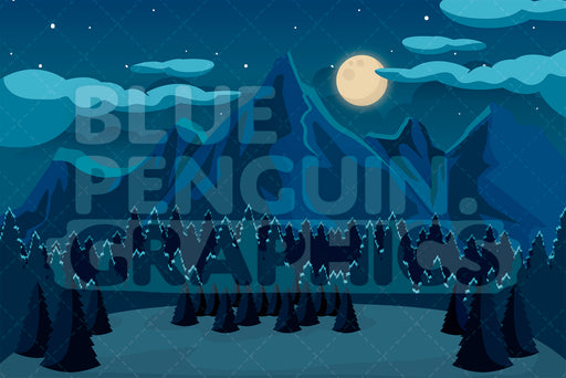 Nature Mountains At Night Graphic Background Clipart - Blue Penguin Graphics