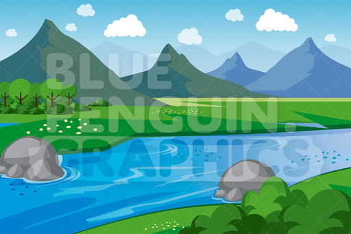 Nature Mountains with River Graphic Background Clipart - Blue Penguin Graphics